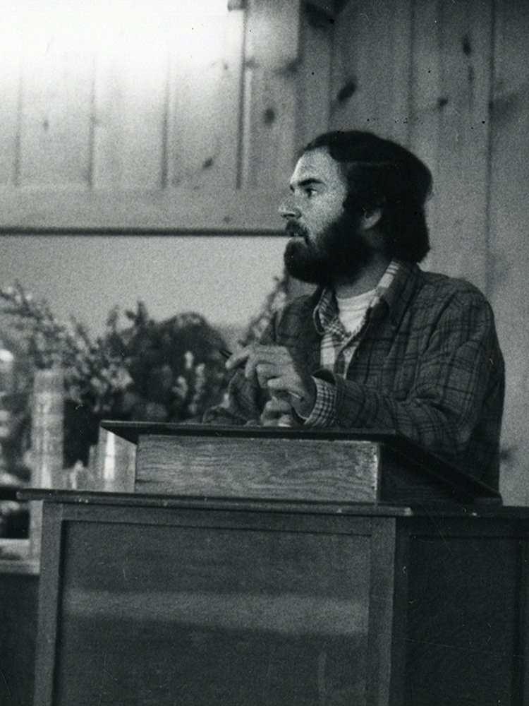 Larry Korn gives the keynote address at the Maritime Permaculture Conference, Portland, OR - 1981