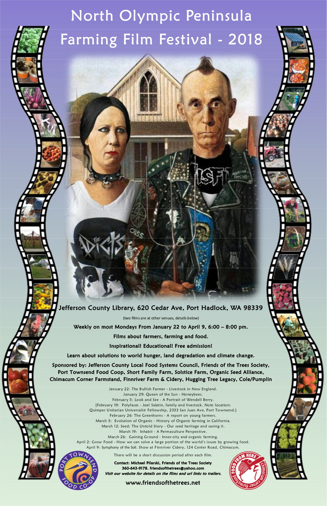 Poster for Film Series with parody of American Gothic painting